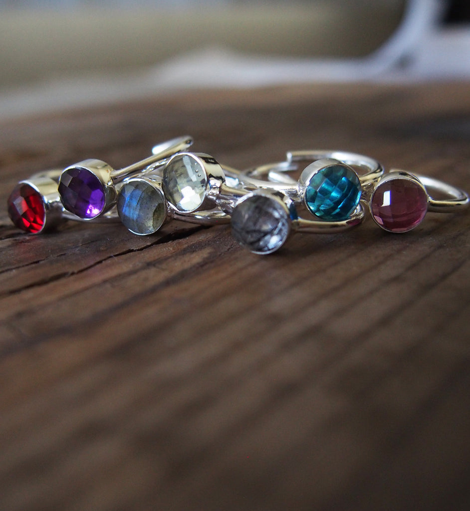 Birthstone Gemstone Sterling Silver Ring