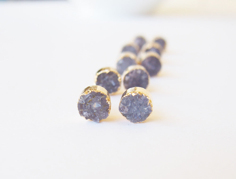 Amethyst Druzy Gemstone Golden Stud Earrings