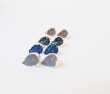 Teardrop Druzy Gemstone Golden Silver Earrings