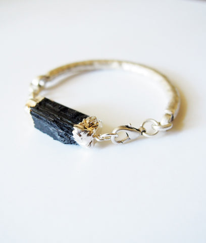 Black Tourmaline Gemstone Silver Bangle Bracelet
