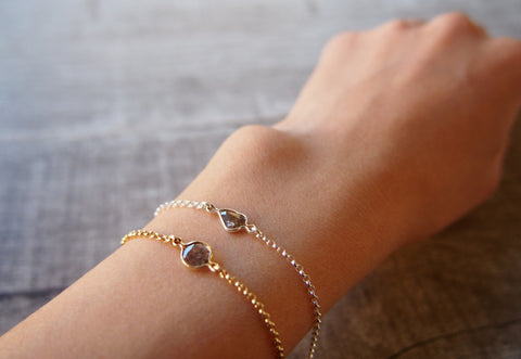 April Birthstone Raw Diamond Chain Bracelet Jewelry