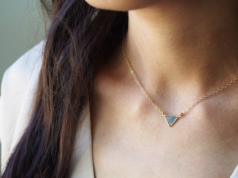 April Birthstone Raw Diamond Triangle Gemstone Gold Necklace