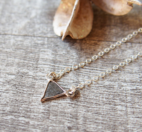 April Birthstone Raw Diamond Triangle Gemstone Sterling Silver Necklace
