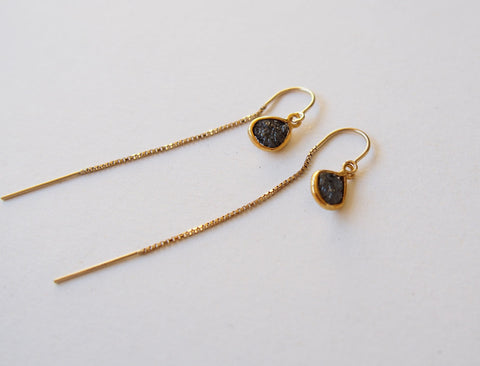 Black Raw Diamond Gold Filled Threader Chain Long Earrings