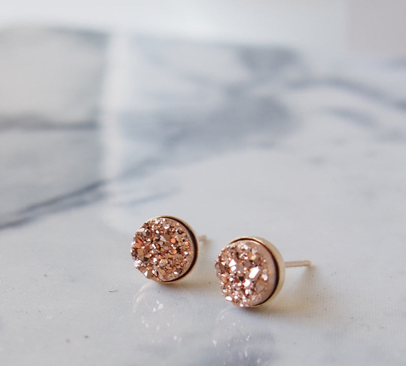 Rose Gold Titanium Druzy Gold Filled Stud Earrings