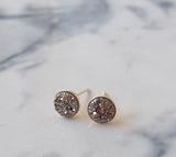 Silver Titanium Druzy Gold Filled Stud Earrings