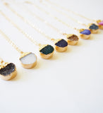 Druzy Gemstone Gold Dipper Necklace