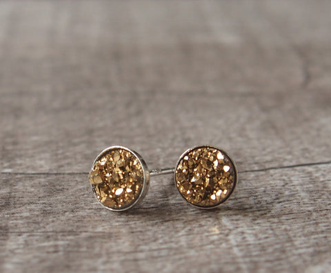 Golden Titanium Druzy Gold Filled Sterling Silver Stud Earrings