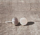 White Titanium Druzy Gold Filled Stud Earrings