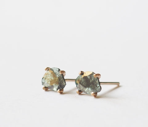 Green Raw Diamond Slice Gemstone Gold Filled Stud Earrings