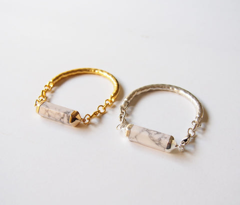 White Howlite Crystal Gemstone Silver Plated Gold Plated Bangle Bracelet