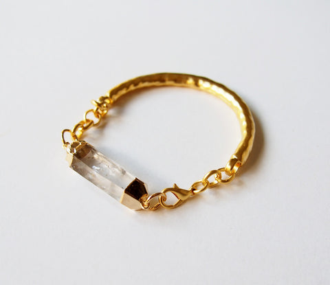 Rough Quartz Crystal Gemstone Gold Plated Bangle Bracelet