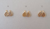 Druzy Gemstone Gold Threader Chain Earrings Bridal Wedding Jewelry