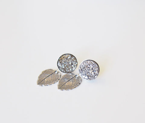 Glitter Silver Titanium Druzy Gemstone Leaf Stud Dangle Earrings