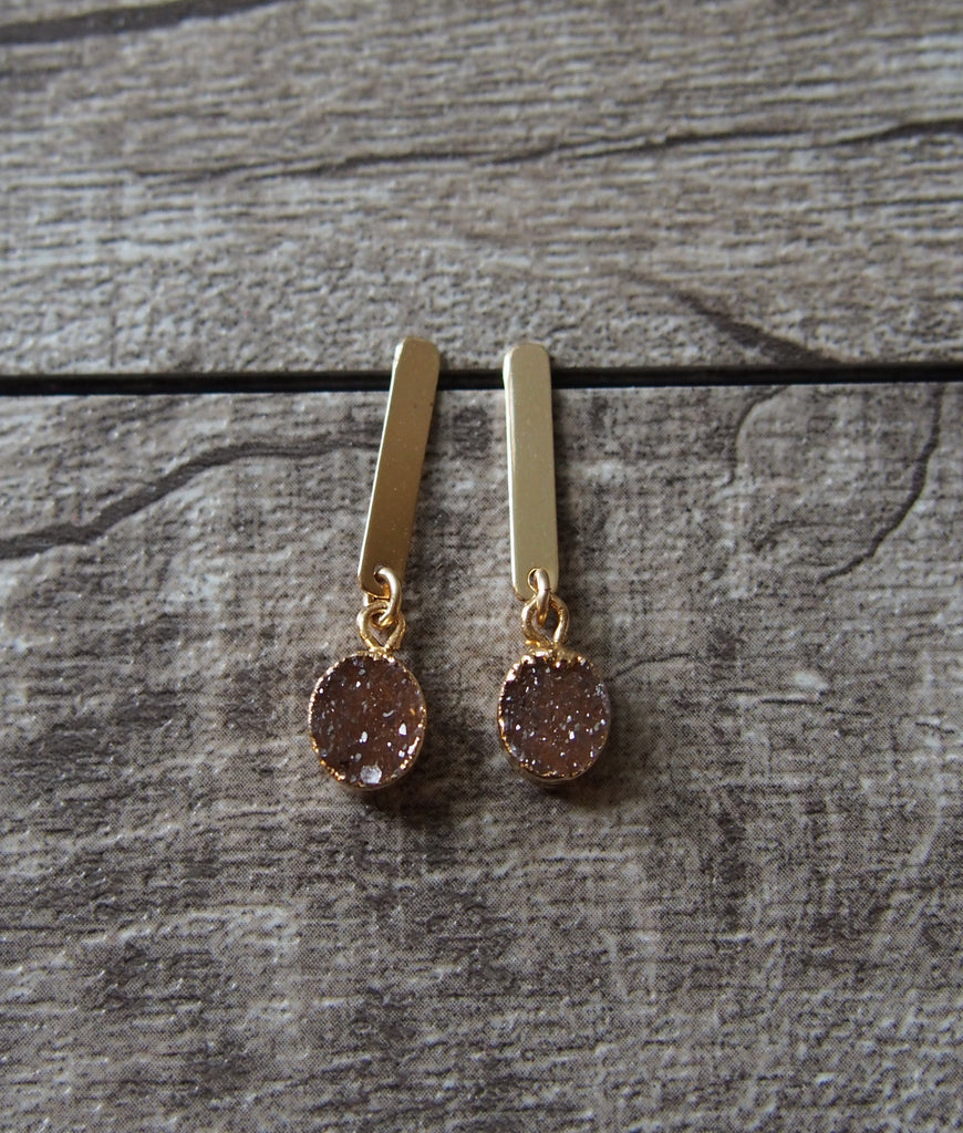 Gold Filled Druzy Gemstone Dangle Earrings