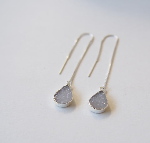 Druzy Gemstone Sterling Silver Threader Chain Earrings Bridal Wedding Jewelry