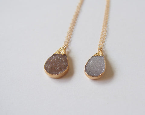 Druzy Gold Dipper Necklace