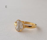 April Birthstone Raw Diamond Solitaire Gemstone Gold Plated Ring