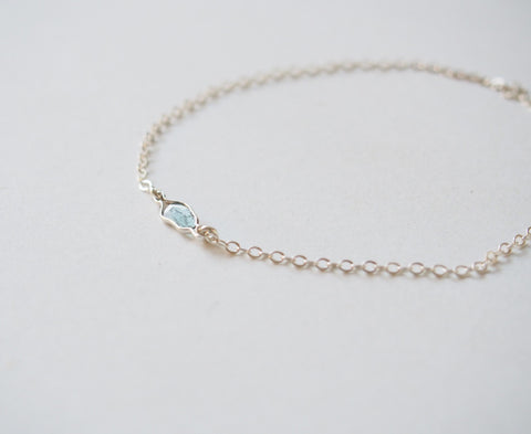 April Birthstone Raw Diamond Free Form Silver Chain Bracelet Jewelry