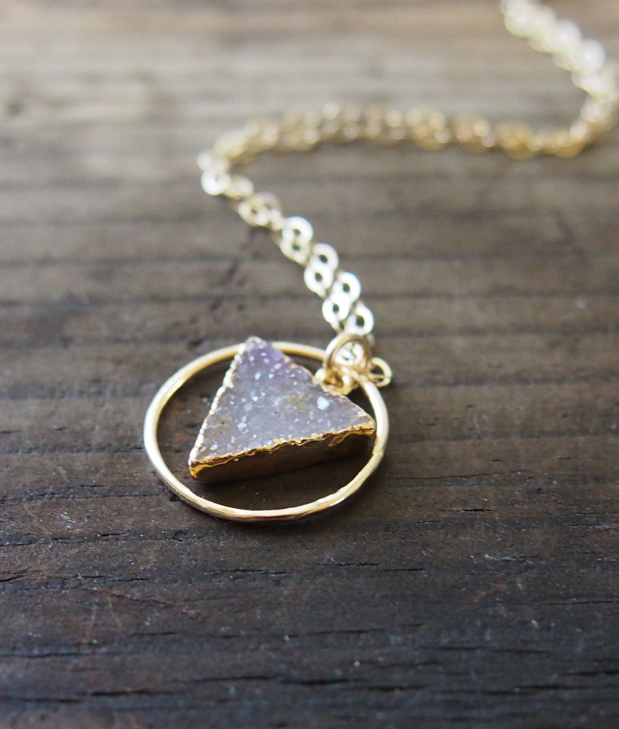 Triangle Druzy Gemstone Eternity Circles Gold Filled Pendant Necklace