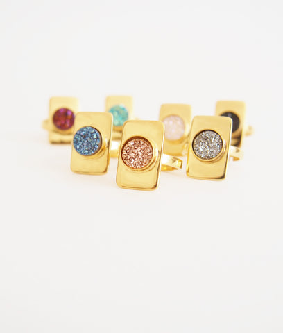 Druzy Gemstone Golden Veremeil Ring