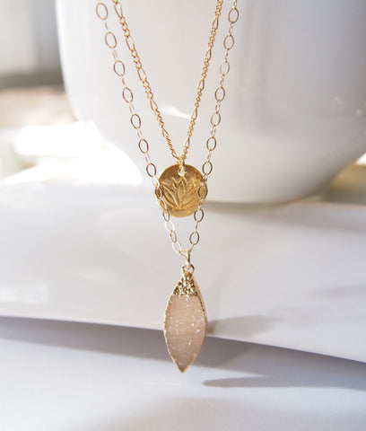 Lotus & Druzy Layered Necklace