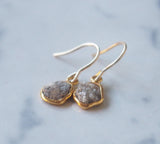 Raw Diamond Gemstone Gold Plated Dangle Earrings
