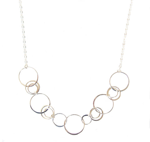 Eternity Circles Bib Sterling Silver Gold Plated Necklace