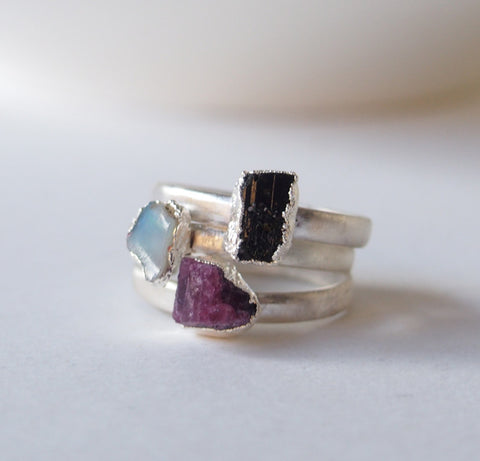 Raw Black Tourmaline Opal Gemstone Gold Plated Stack able Ring