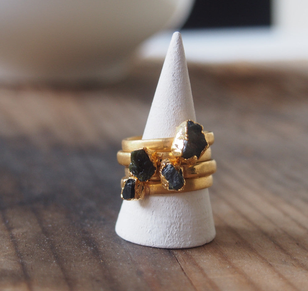 Raw Black Tourmaline Gemstone Gold Plated Stack able Ring