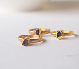 Raw Pink Tourmaline Gemstone Gold Plated Ring