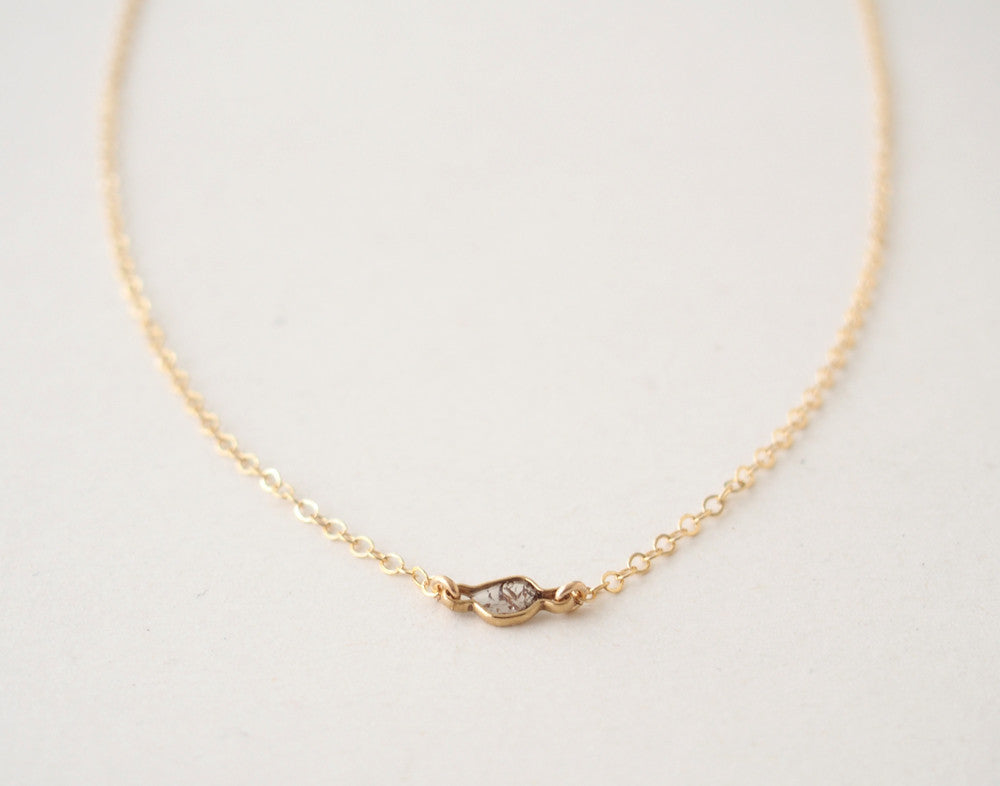 Raw Diamond Slice Gemstone Choker Gold Filled Necklace