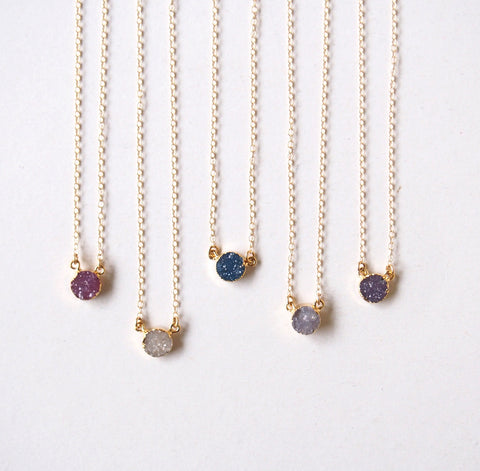 Gold Druzy Gemstone Choker Pendant Necklace