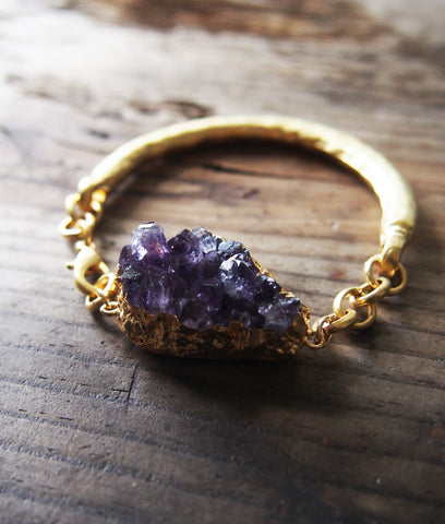 Amethyst Druzy Cluster Gold Plated Bangle Bracelet