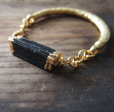 Black Raw Tourmaline Gold Bangle Bracelet