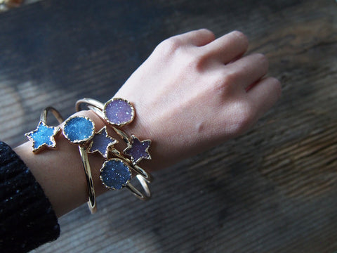 Sun Star Agate Druzy Gold Statement Bangle Dual Bracelet