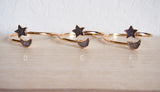 Star Moon Agate Druzy Gold Statement Bangle Dual Bracelet