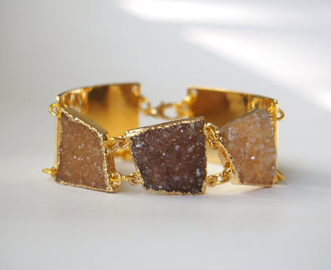 Druzy Gemstone Statement Gold Plated Bangle Chain Bracelet