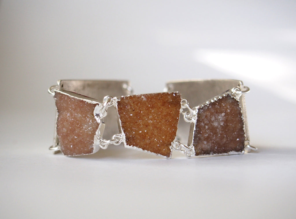 Druzy Gemstone Statement Silver Plated Bangle Chain Bracelet