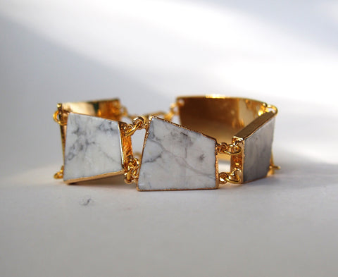 Marble White Howlite Gemstone Statement Gold Plated Bangle Chain Bracelet