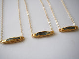 Green Kyanite Gemstone Bar Gold Plated Pendant Necklace