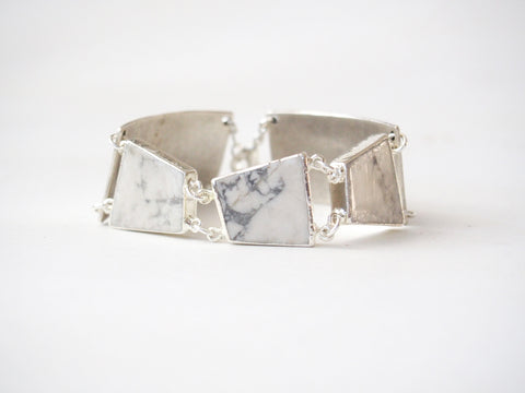 Marble White Howlite Gemstone Statement Vintage Silver Plated Bangle Chain Bracelet