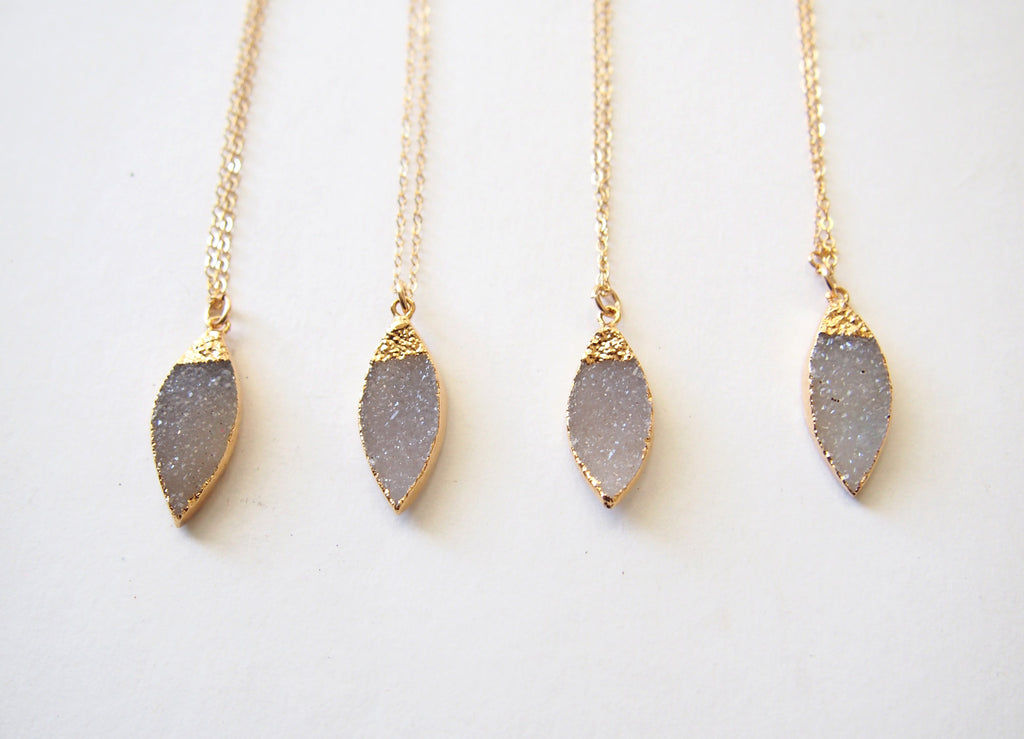 Lavender Color Agate Druzy Gold Dipper Necklace Bridesmaids Gift