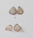 Raw Diamond Slice Sterling Silver Stud Earrings