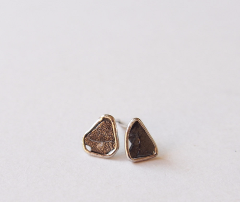 Raw Black Diamond Slice Sterling Silver Stud Earrings