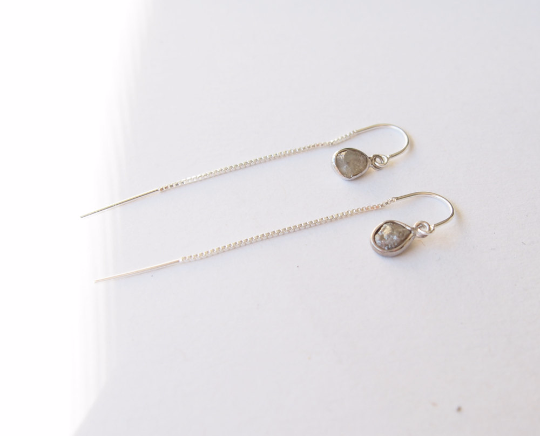 Raw Diamond Sterling Silver Threader Chain Long Earrings