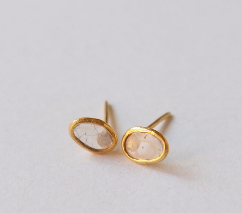 Free Form Raw Diamond Gemstone Gold Plated Stud Earrings
