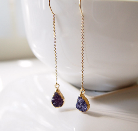 Purple Druzy Gemstone Gold Filled Threader Chain Earrings