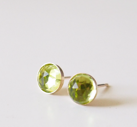 Peridot Earrings August Birthstone Jewelry Green Gemstone Studs