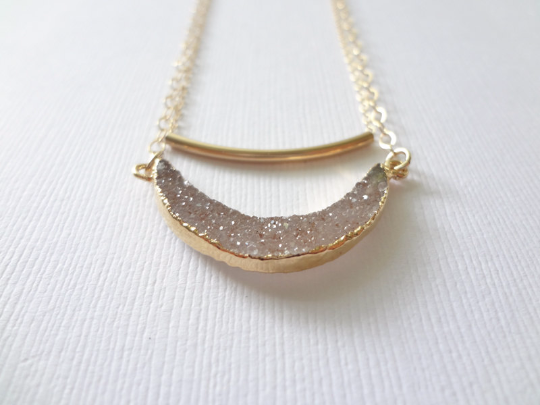 Gold Layered Layering Druzy Gemstone Gold Filled Bar Necklace Set